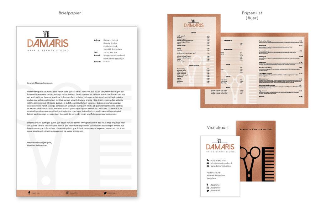 Huisstijl ontwerp voor beautysalon Damaris
