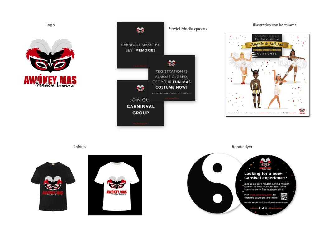 Huisstijl voor Zomercarnaval groep Awokey Mas